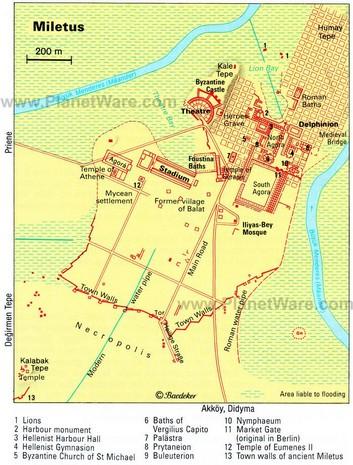 Harta orasului antic Milet cu principalele obiective