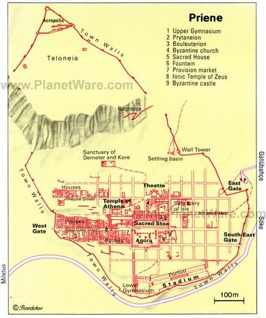 Turcia Priene harta orasului antic