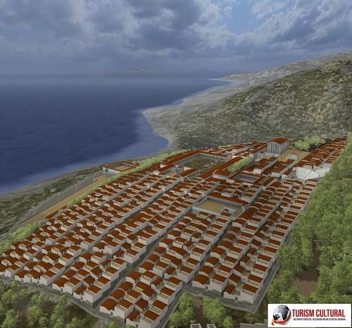 Turcia Priene reconstituirea orasului antic; vedere de pe acropole.