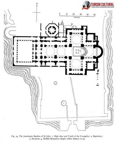 Turcia Selcuk Biserica Sf Ioan schema de ansamblu