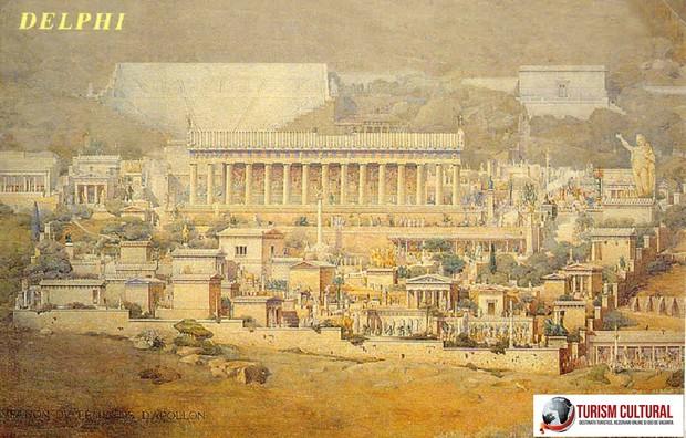 Grecia Delphi reconstituire pictura de Albert Tournaire