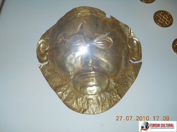 Grecia Micene masca de aur a lui Agamemnon