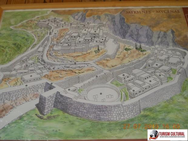 Grecia Micene reconstituire (panou de la fata locului)