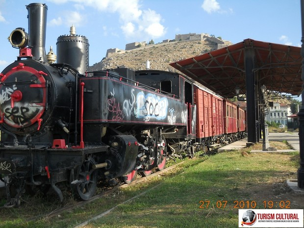 Grecia Nafplio gara veche si un tren cu aburi