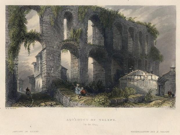 Turcia W.H. Bartlett Apeductul lui Valens gravura