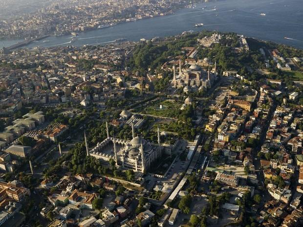 Turism Cultural - Turcia Istanbul Moscheea Albastra vedere aeriana