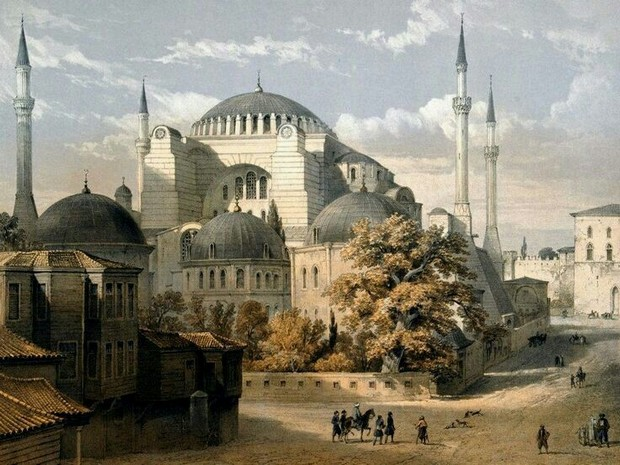 Turism Cultural - Istanbul Sfanta Sofia gravura color