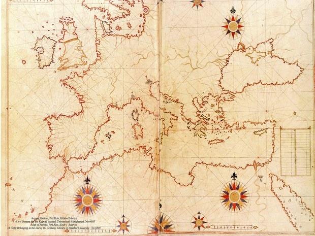 Turism Cultural - Turcia Istanbul Palatul Topkapi harta Piri Reis Europa Marea Mediterana